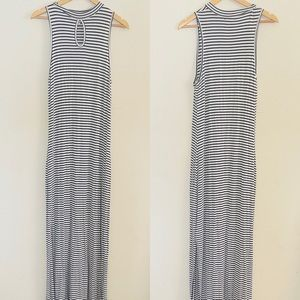 LoveIn |Long Black & White Striped Maxi Dress Sz:L